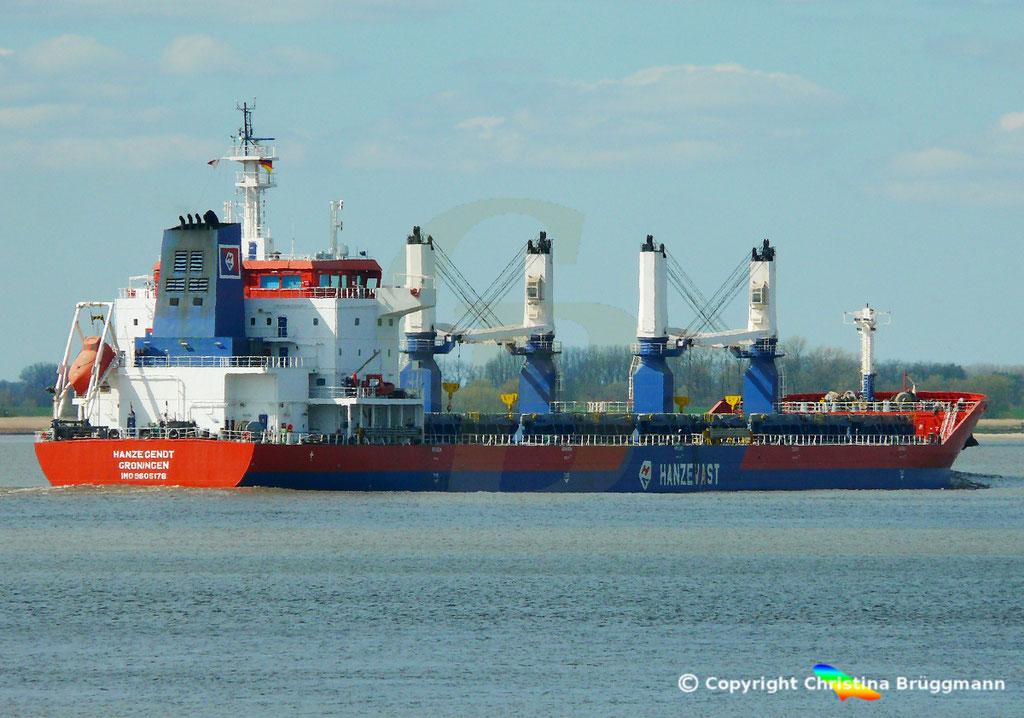 Bulk Carrier HANZE GENDT, Elbe 10.04.2019,  BILD 8