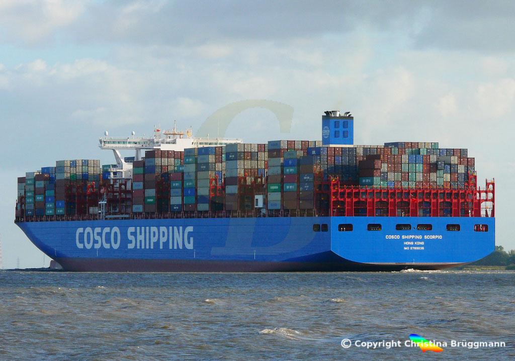 Containerschiff COSCO SHIPPING SCORPIO, Elbe 28.09.2018, BILD 5