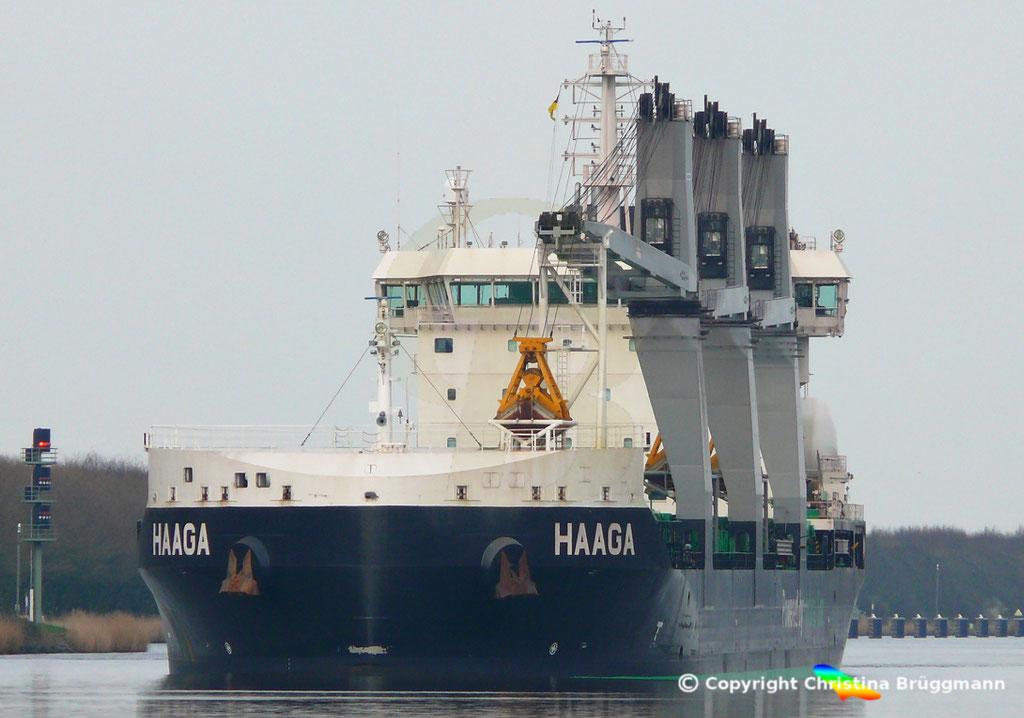 Bulk Carrier/Mehrzweckfrachter HAAGA, Nord-Ostsee-Kanal 02.04.2019,  BILD 1
