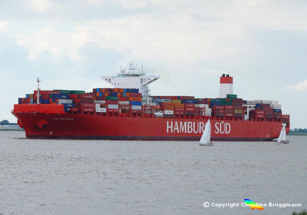 Containerschiff CAP SAN MARCO, Elbe 02.10.2016, BILD 2