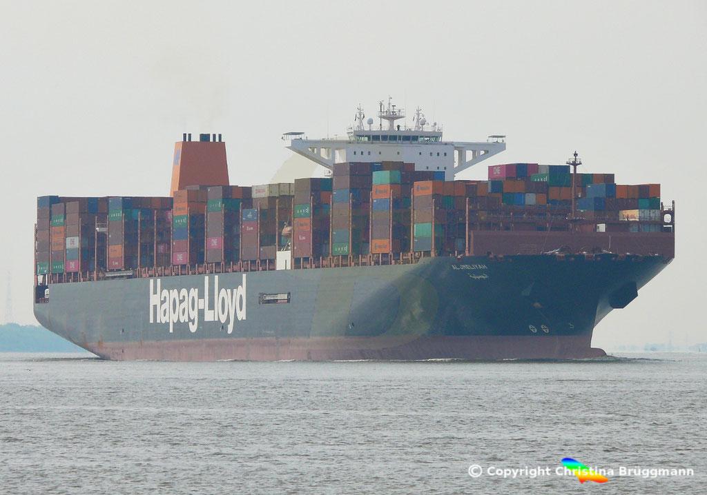 Containerschiff AL JMELIYAH, Elbe 08.05.2019 /  BILD 2