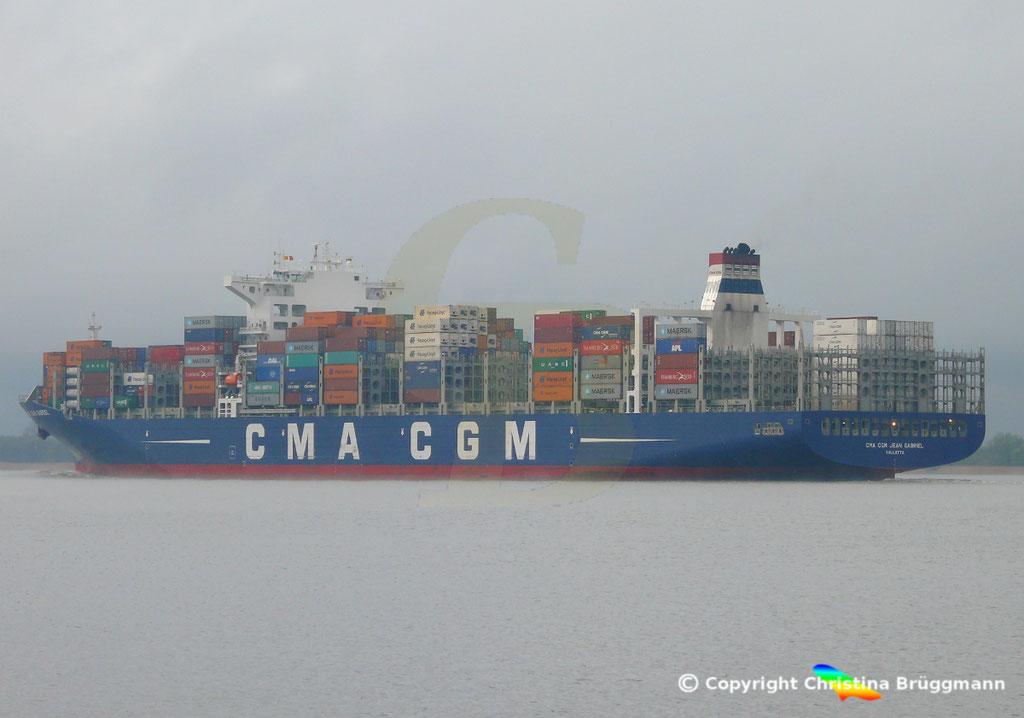 Containerschiff CMA CGM JEAN GABRIEL, Elbe 13.04.2019,  BILD 7