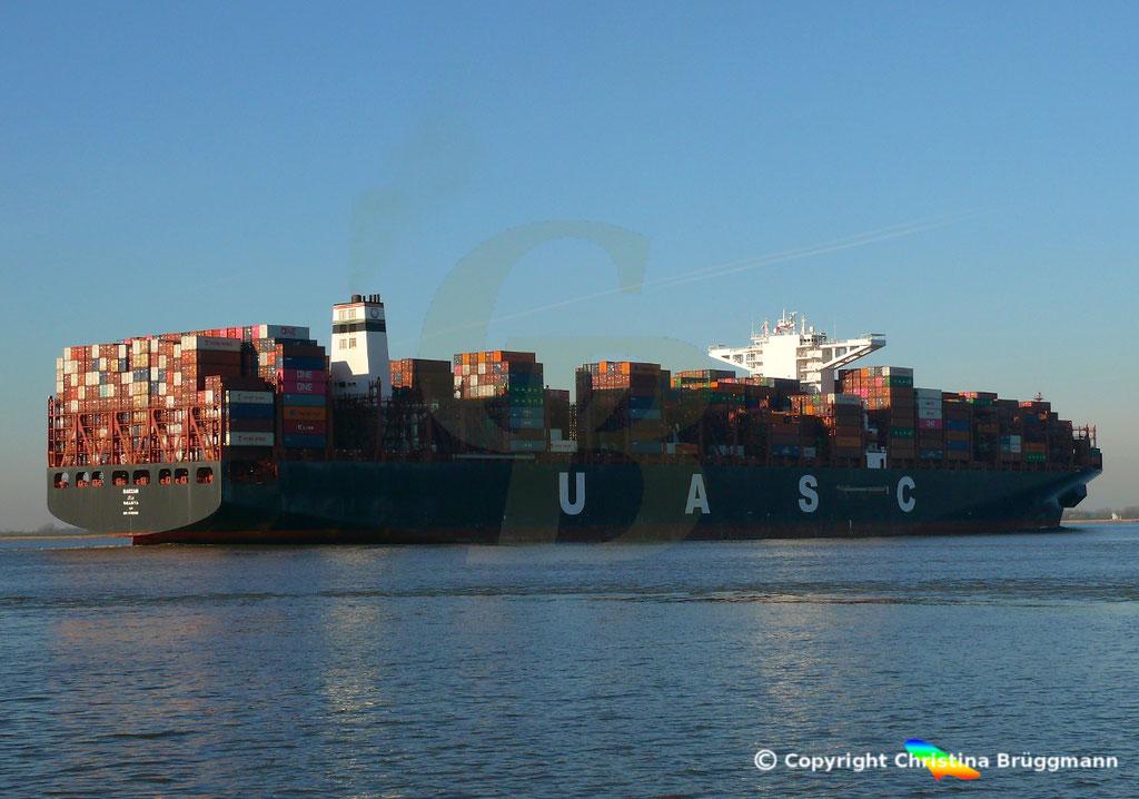 Hapag-Llloyd Containerschiff BARZAN, Elbe 16.02.2019,  BILD 5