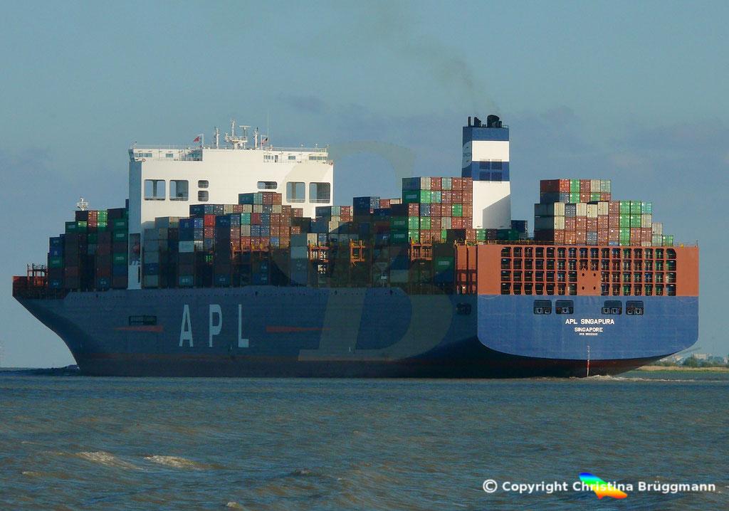 Containerschiff APL SINGAPURA nach Verlängerung, Elbe 22.05.2019,  BILD 8