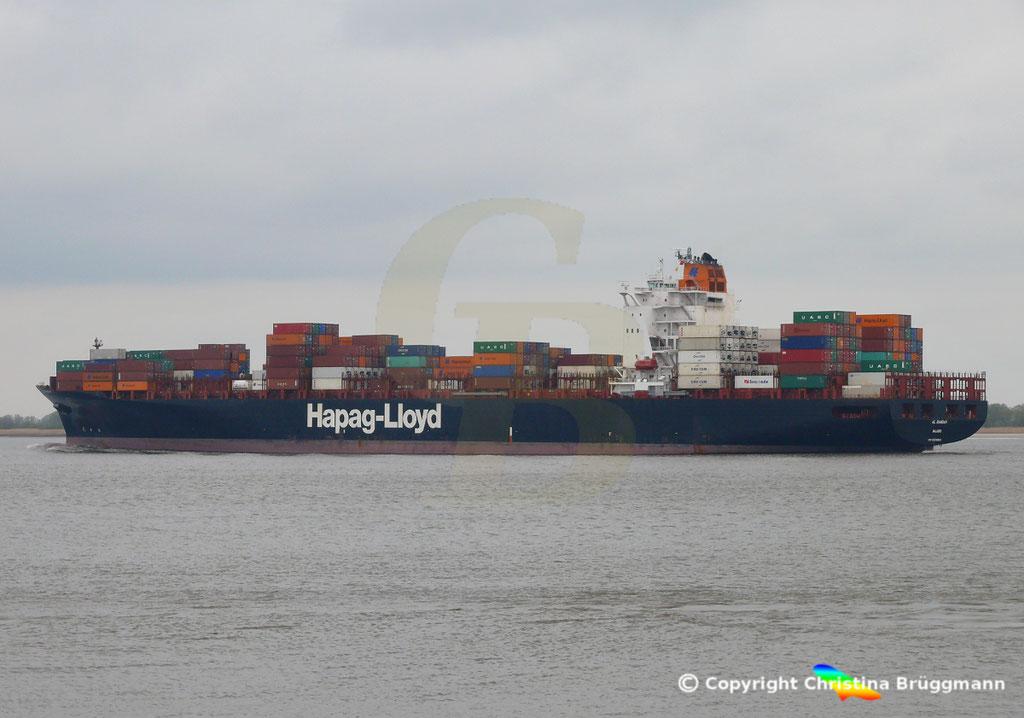 Containerschiff AL RAWDAH, Elbe 14.04.2019,  BILD 2