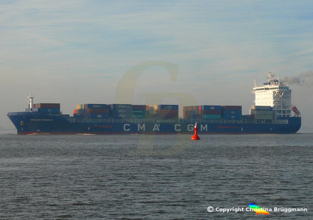 Container-Feeder CMA CGM PREGOLIA, Elbe 03.11.2018,  BILD 10