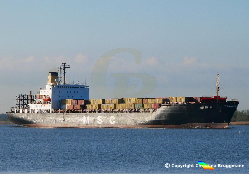 Containerschiff MSC MALIN, Elbe 10.04.2019,  BILD 2