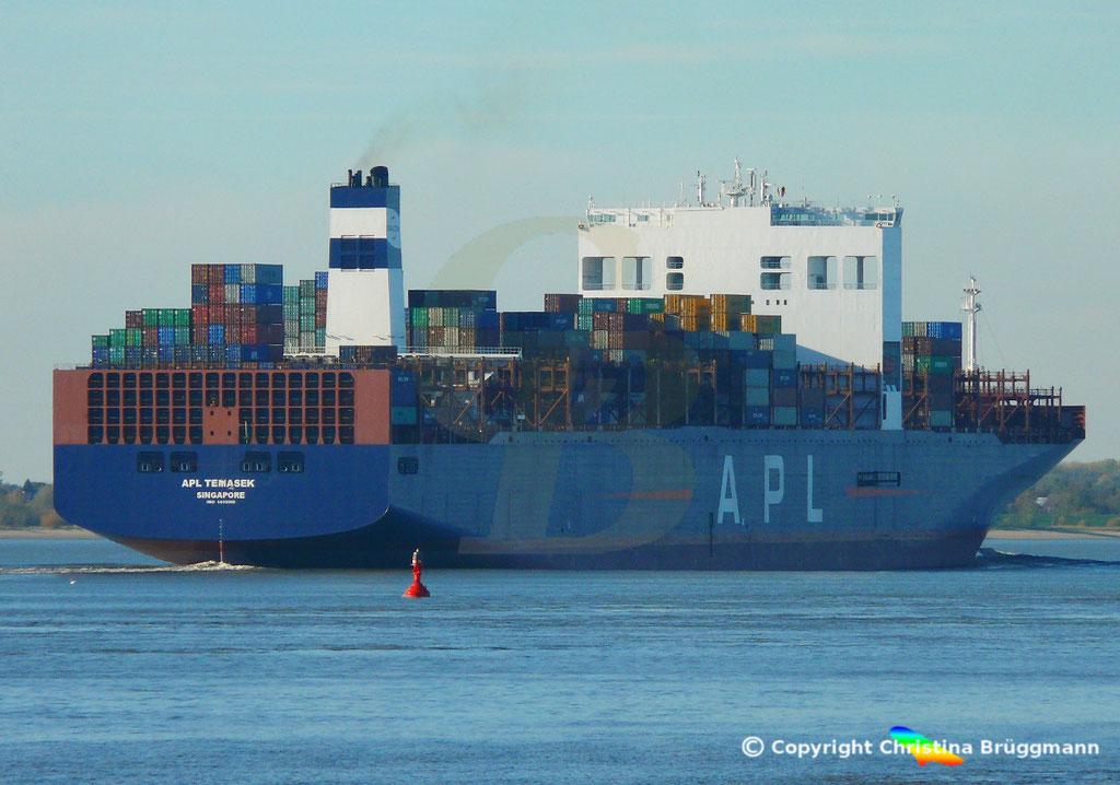Containerschiff APL TEMASEK, Elbe 03.11.2018, BILD 6