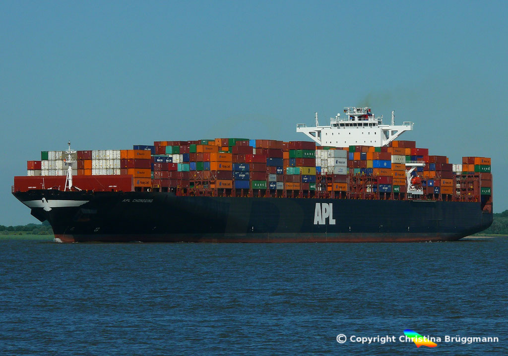 Containerschiff APL CHONGQING, Elbe, 06.06.2018,  BILD 2