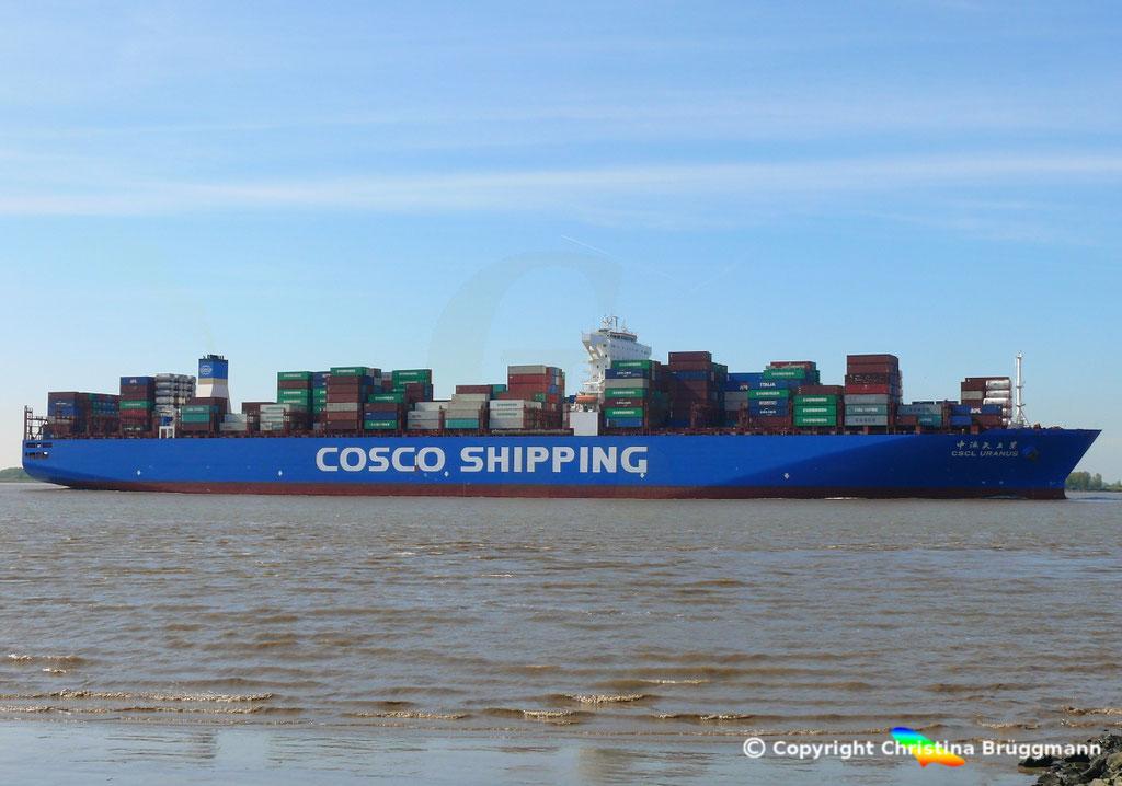 Containerschiff CSCL URANUS, Elbe 11.05.2017, BILD 4