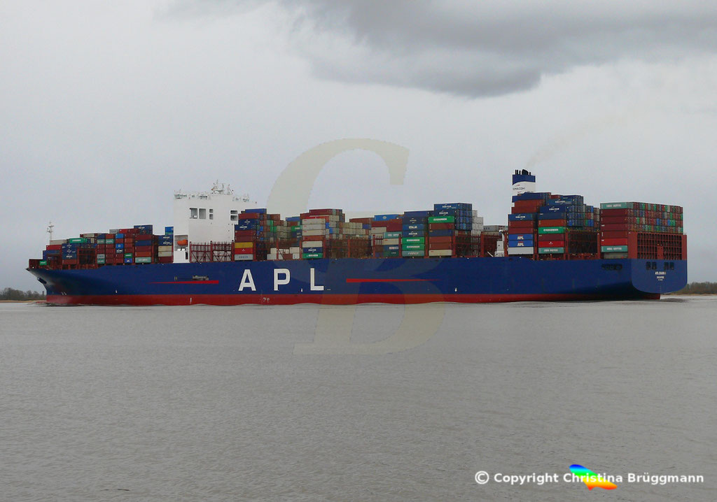 Containerschiff APL CHANGI, nach Verlängerung, Elbe 10.03.2019,  BILD 6