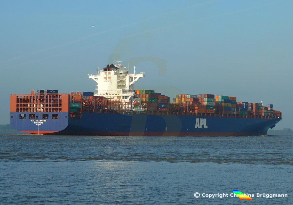 Containerschiff APL LE HAVRE, Elbe 05.10.2018,  BILD 5