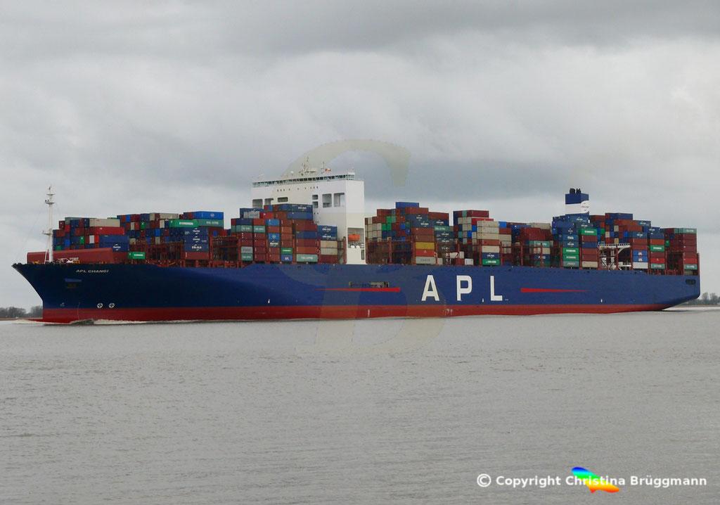 Containerschiff APL CHANGI, nach Verlängerung, Elbe 10.03.2019,  BILD 3