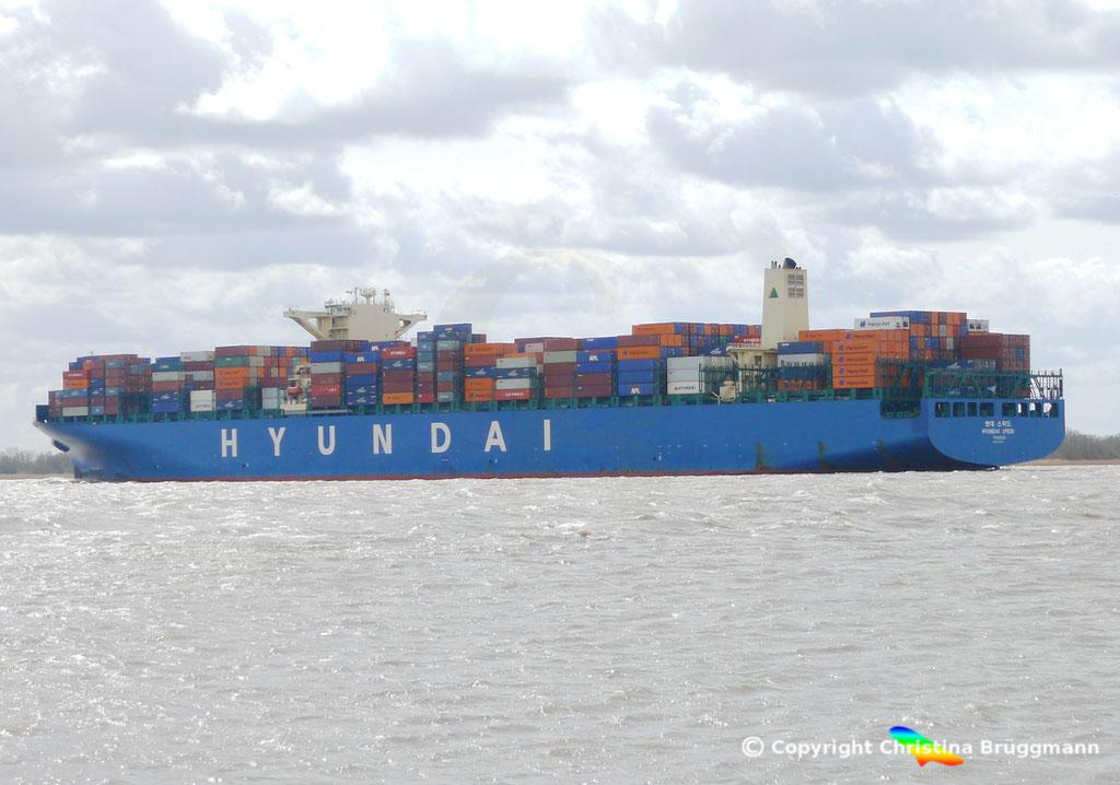 """Containerschiff """"HYUNDAI SPEED""""  Elbe 13.04.2015, BILD 5"""