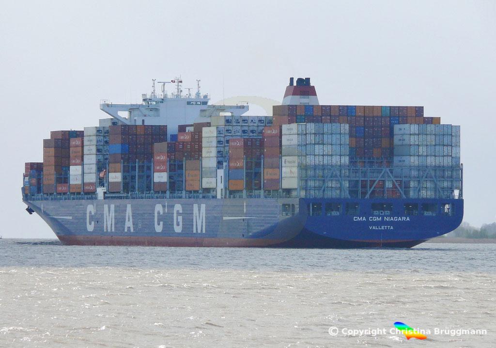 Containerschiff  CMA CGM NIAGARA, Elbe 22.04.2017,  BILD 6