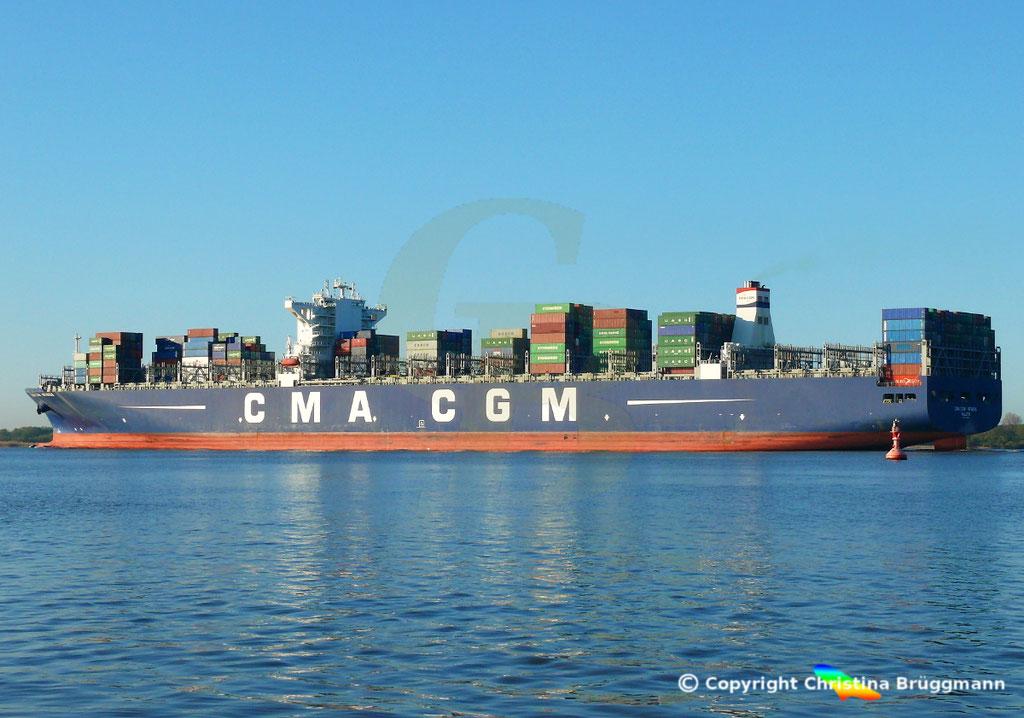Containerschiff CMA CGM NEVADA, Elbe 19.04.2017, BILD 6