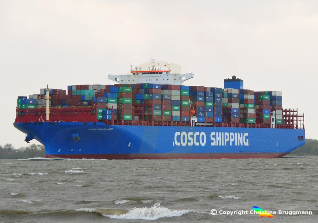 Containerschiff COSCO SHIPPING ANDES, Elbe 24.10.2018, BILD 2