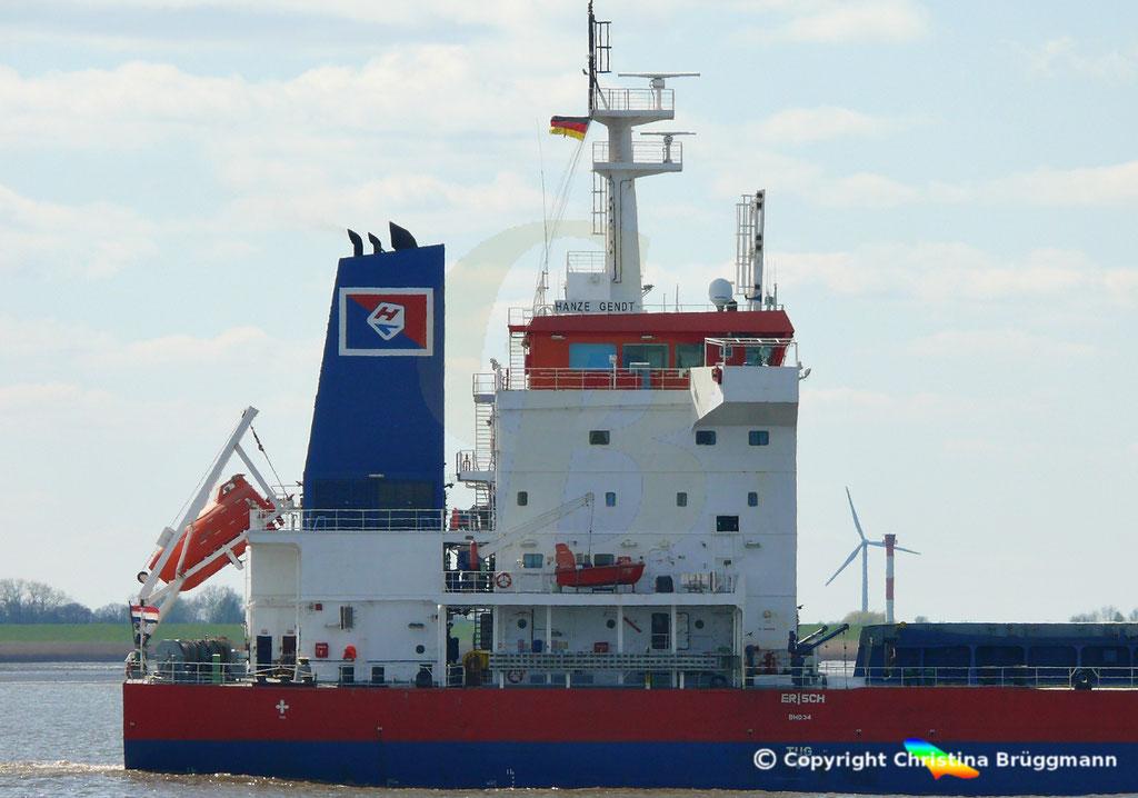 Bulk Carrier HANZE GENDT, Deckshaus, Elbe 10.04.2019,  BILD 5