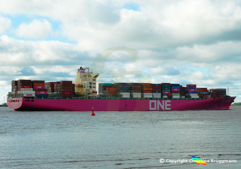 Containerschiff ONE CONTINUITY, Elbe 27.10.2018,  BILD 3