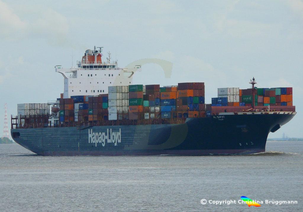 Hapag-Lloyd Containerschiff AL SAFAT, Elbe 09.05.2019 /  BILD 1