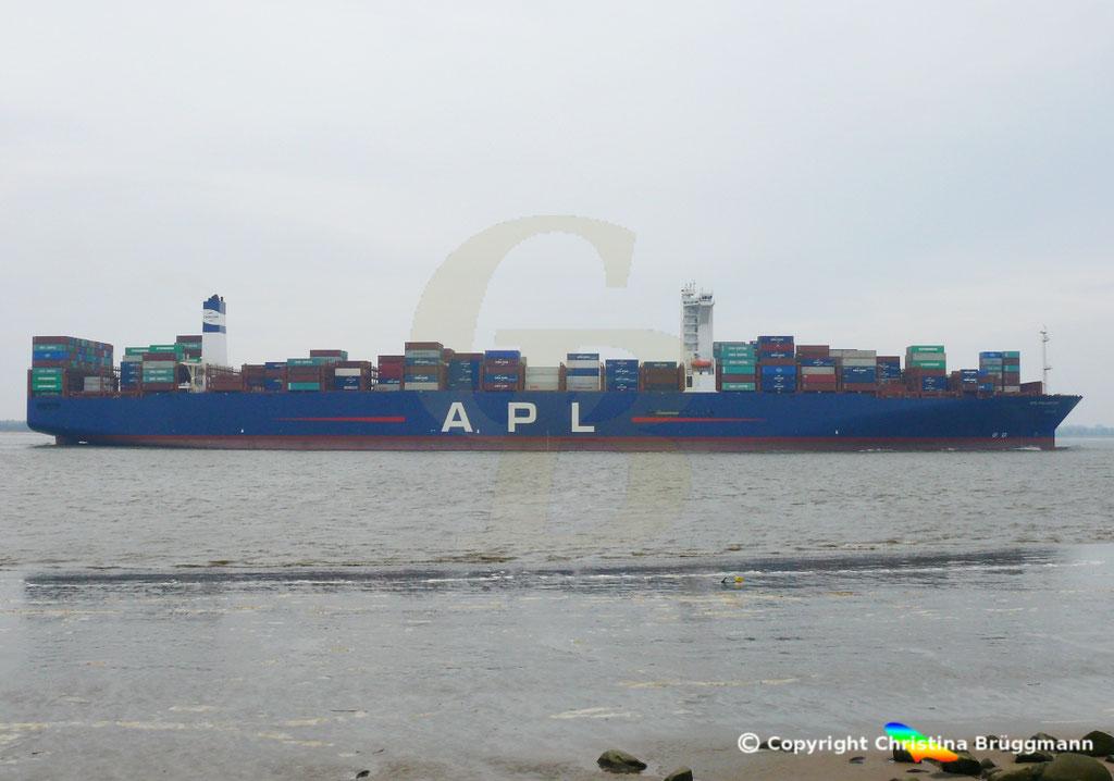 Containerschiff APL FULLERTON, nach Verlängerung, Elbe 20.03.2019,  BILD 6