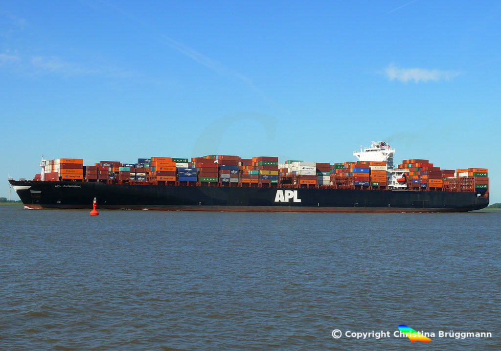 Containerschiff APL CHONGQING, Elbe, 06.06.2018,  BILD 3
