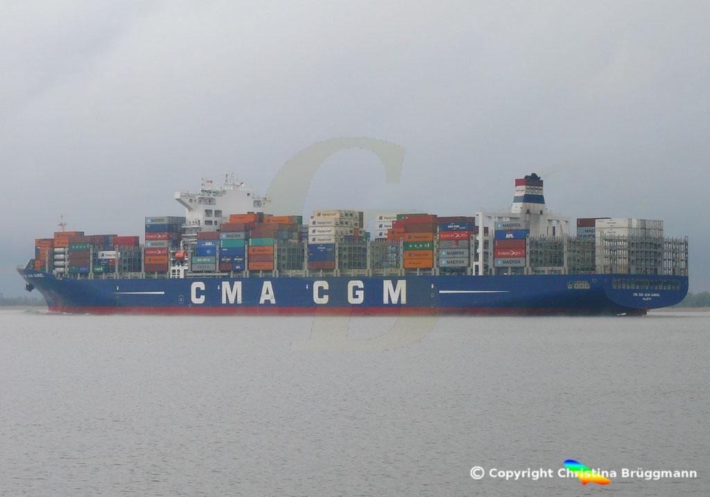 Containerschiff CMA CGM JEAN GABRIEL, Elbe 13.04.2019,  BILD 6