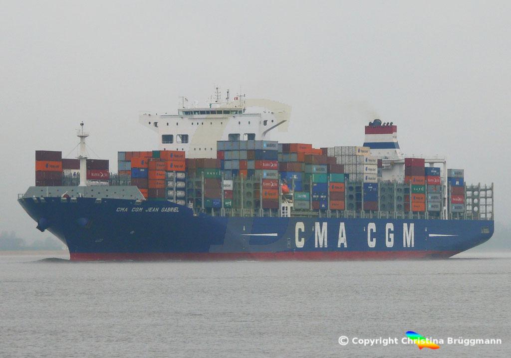 Containerschiff CMA CGM JEAN GABRIEL, Elbe 13.04.2019,  BILD 2