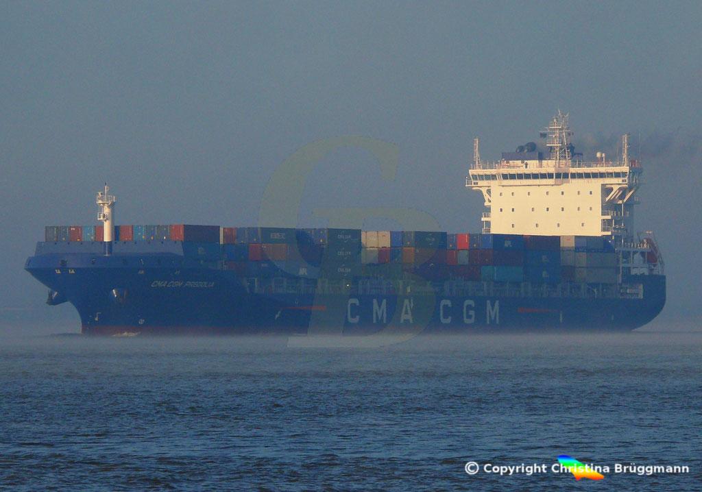 Container-Feeder CMA CGM PREGOLIA, Elbe 03.11.2018,  BILD 8