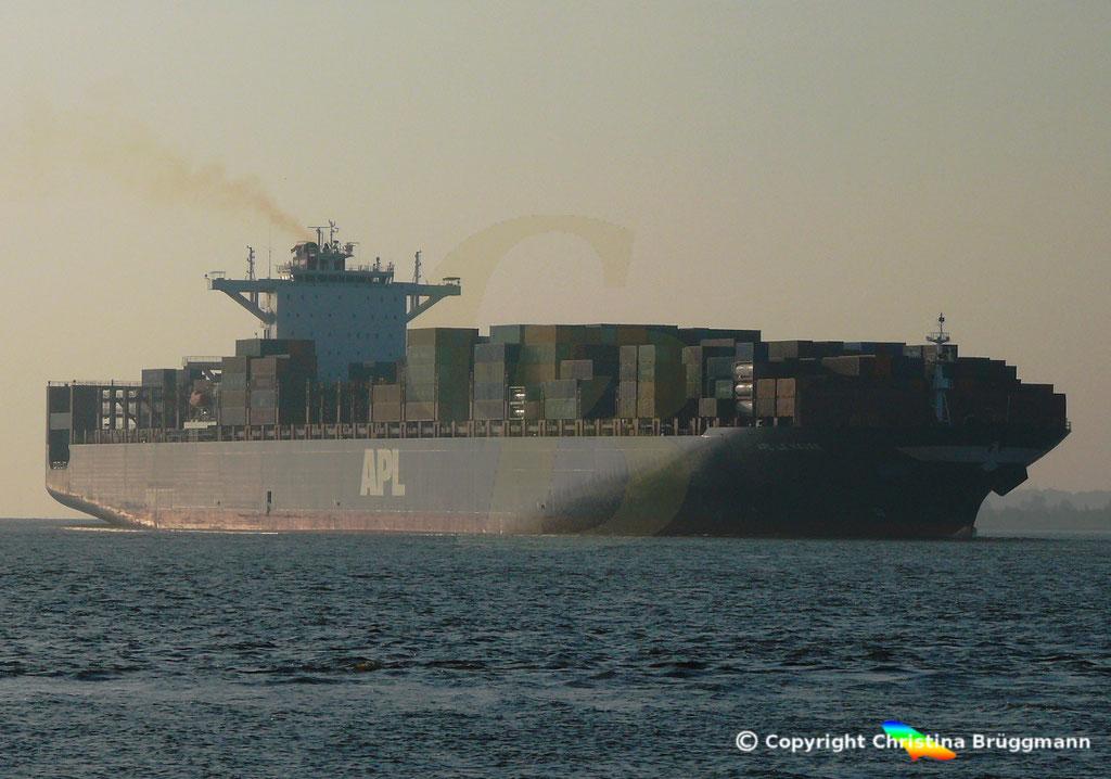 Containerschiff APL LE HAVRE, Elbe 05.10.2018,  BILD 1