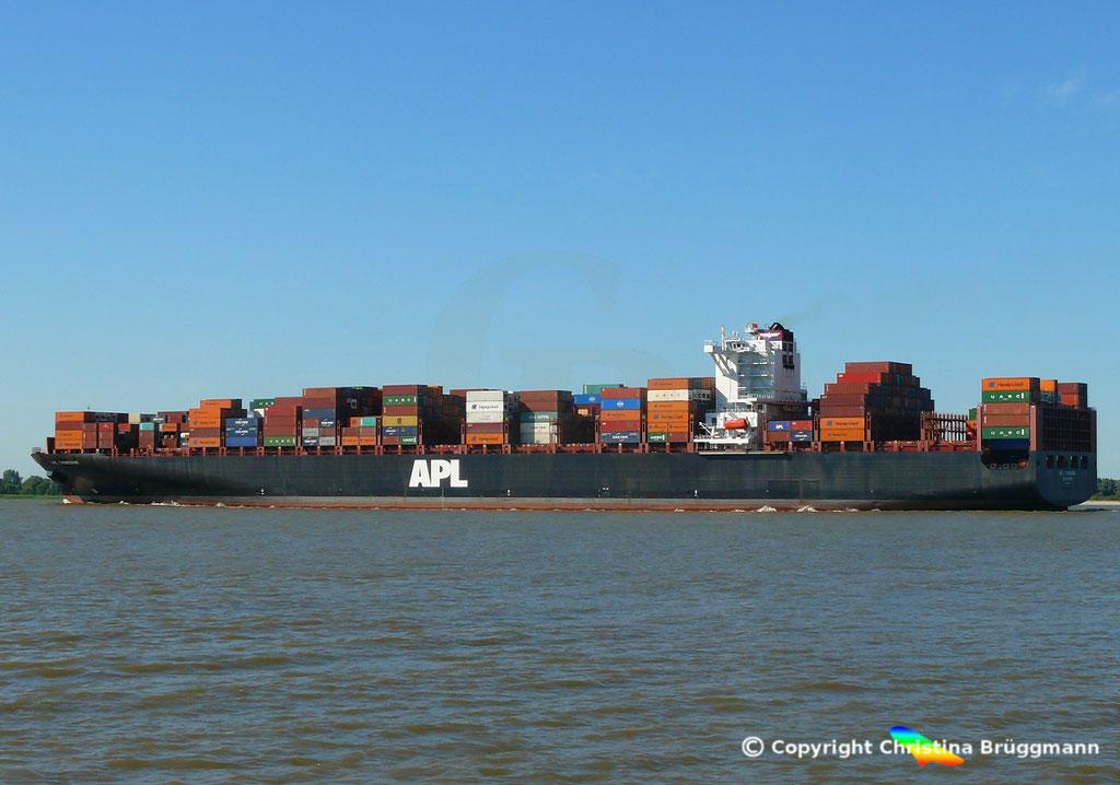 Containerschiff APL CHONGQING, Elbe, 06.06.2018,  BILD 4