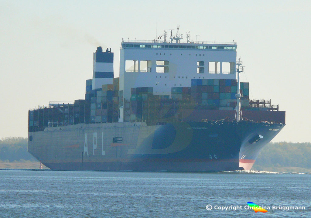 Containerschiff APL TEMASEK, Elbe 03.11.2018, BILD 2