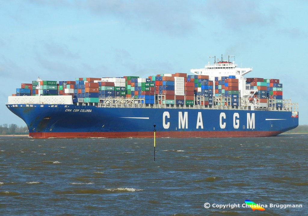 "Containerschiff ""CMA CGM COLUMBA"" Elbe 13.04.2015, BILD 3"