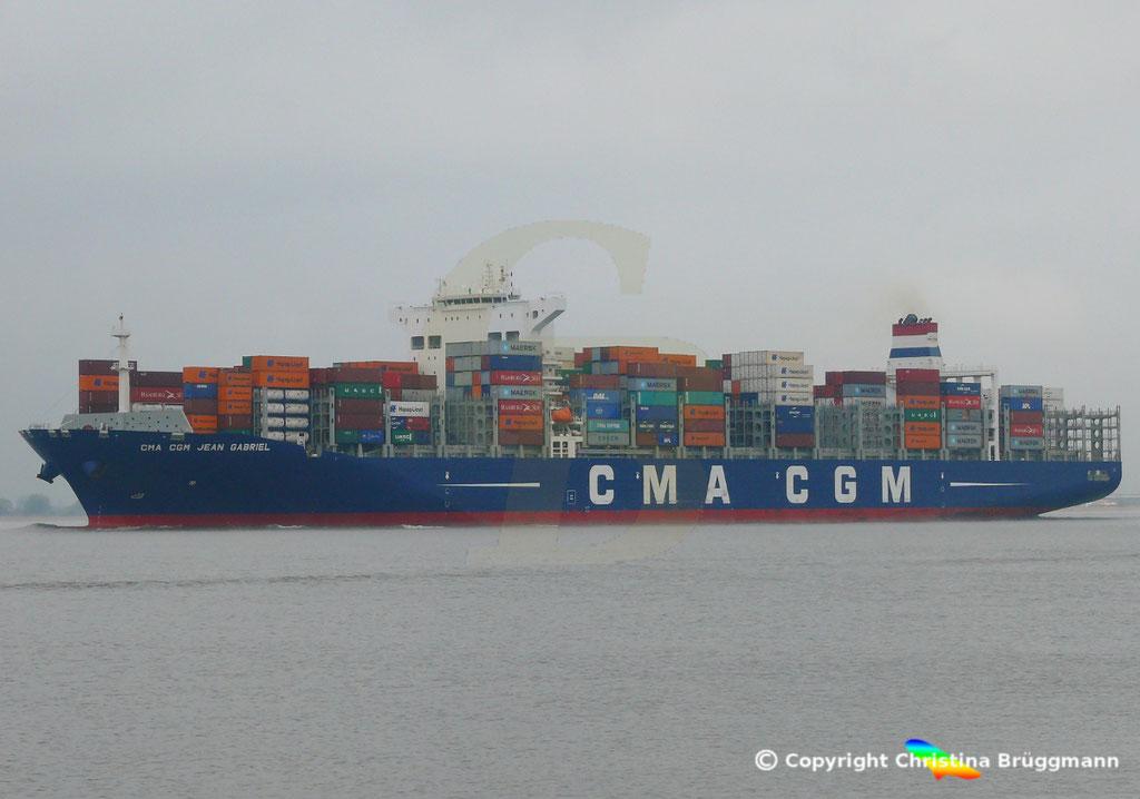 Containerschiff CMA CGM JEAN GABRIEL, Elbe 13.04.2019,  BILD 3