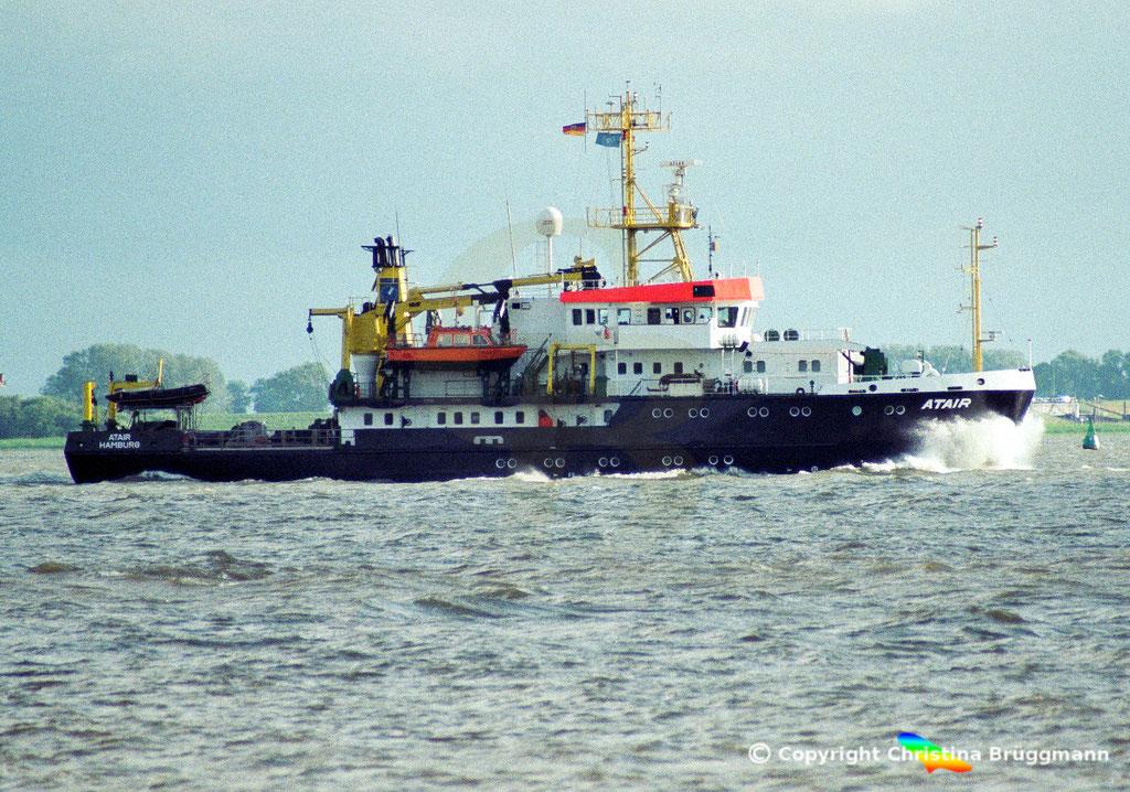 Vermssungs- Wrachsuch- u. Forschungsschiff ATAIR, Elbe 2002,  BILD 1