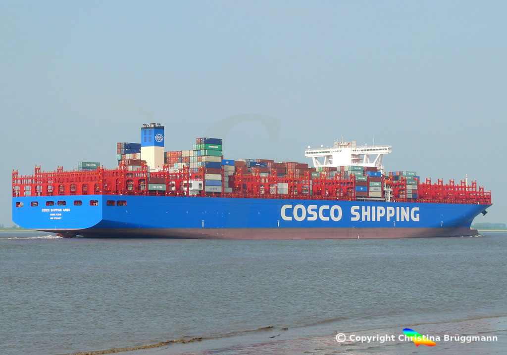 Containerschiff COSCO SHIPPING ARIES, Elbe 15.05.2018, BILD 4