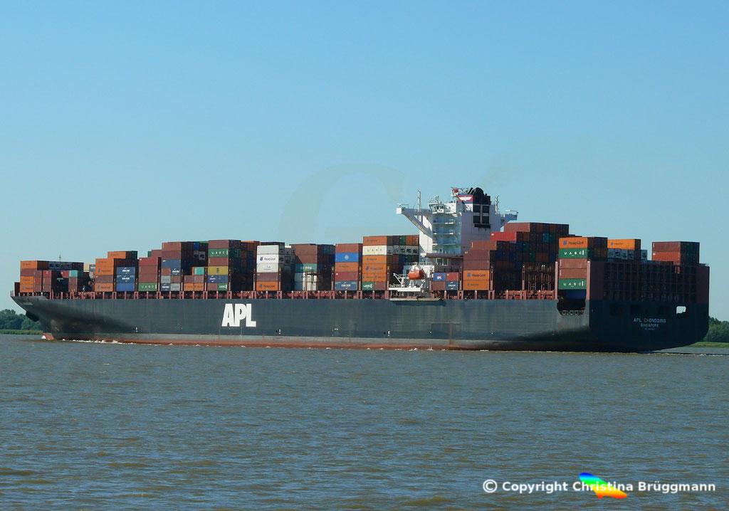 Containerschiff APL CHONGQING, Elbe, 06.06.2018,  BILD 5