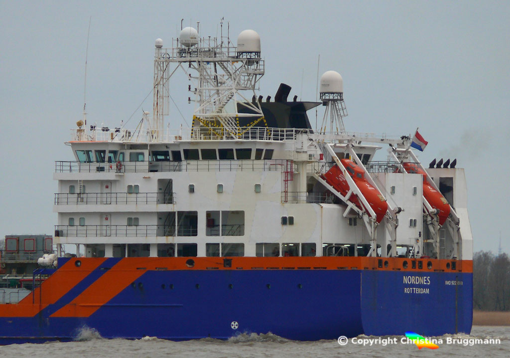 Fallrohrschiff/ Bulkcarrier NORDNES, Elbe 06.03.2019,  BILD 7