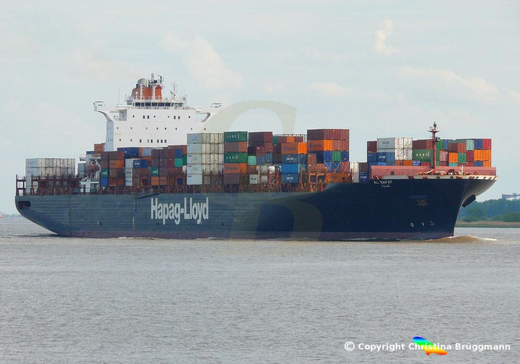 Hapag-Lloyd Containerschiff AL SAFAT, Elbe 09.05.2019 /  BILD 2