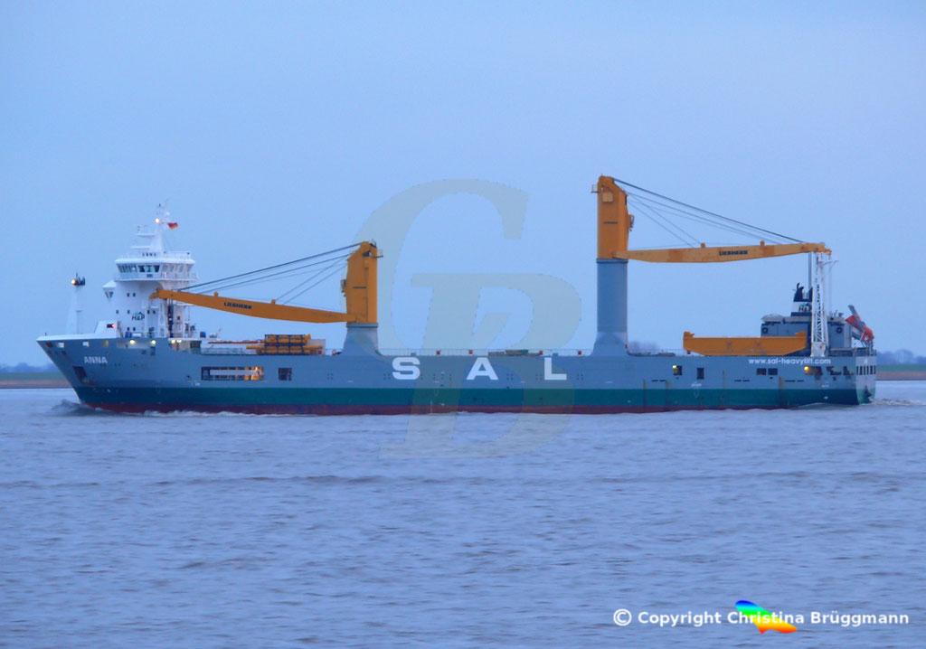 SAL Heavy Lift Schwergutfrachter ANNA, Elbe 30.01.2019,  BILD 4