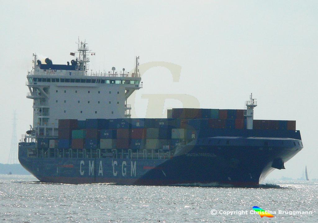 Container-Feeder CMA CGM PREGOLIA, Elbe 10.09.2018,  BILD 1