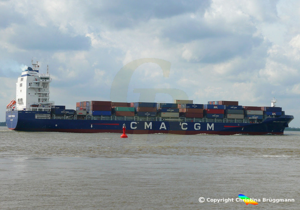 Container-Feeder CMA CGM PREGOLIA, Elbe 10.09.2018,  BILD 4