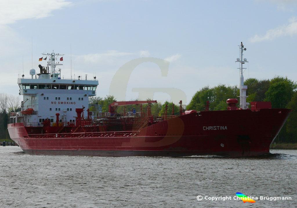 Tanker CHRISTINA, Nord-Ostsee Kanal 24.04.2018,  BILD 1