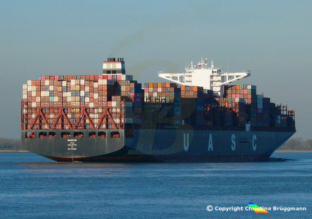 Hapag-Llloyd Containerschiff BARZAN, Elbe 16.02.2019,  BILD 7