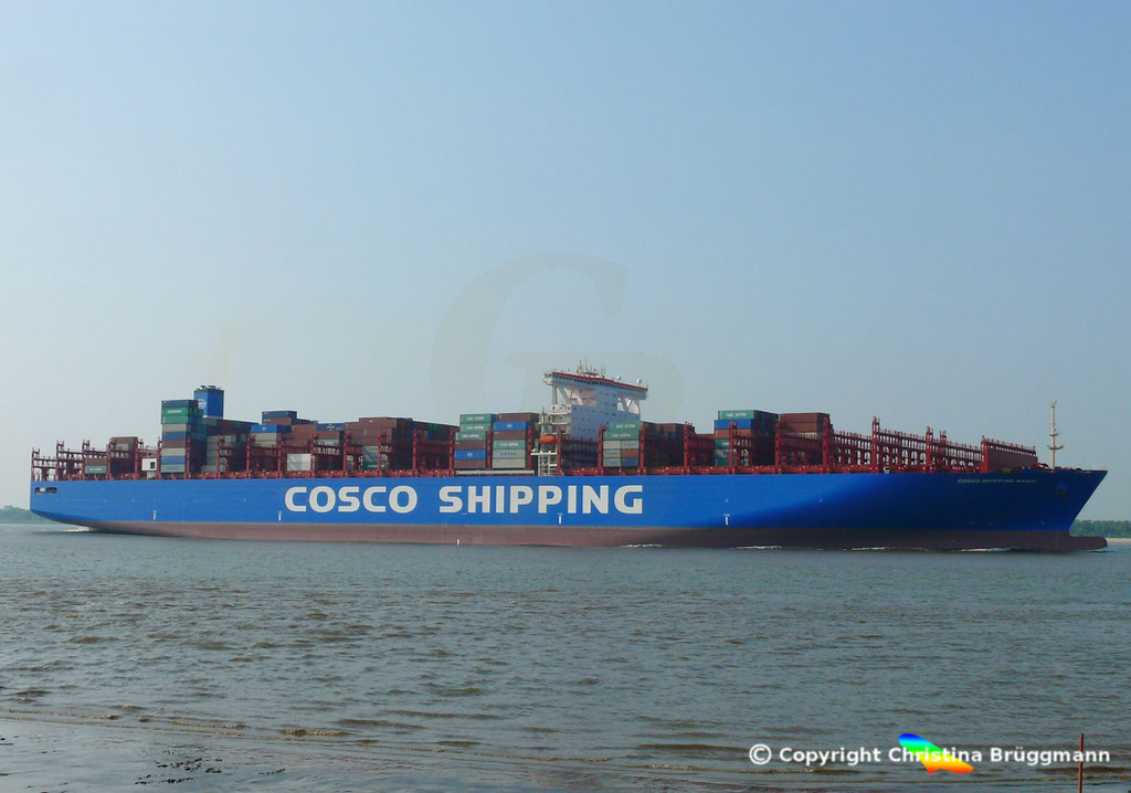 Containerschiff COSCO SHIPPING ARIES, Elbe 15.05.2018, BILD 3