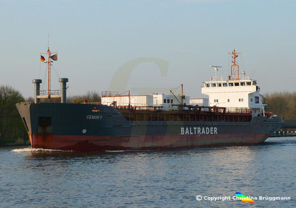 Zementfrachter CEMSKY, Nord-Ostsee-Kanal, 07.04.2029,   BILD 3