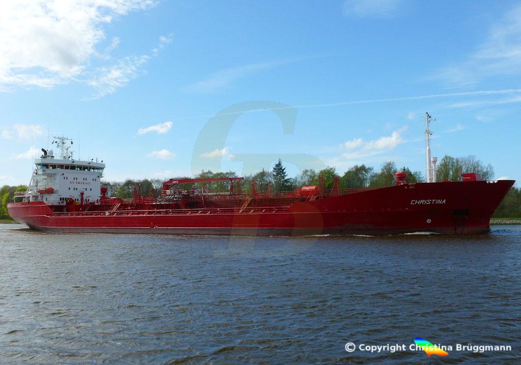 Tanker CHRISTINA, Nord-Ostsee Kanal 24.04.2018,  BILD 2