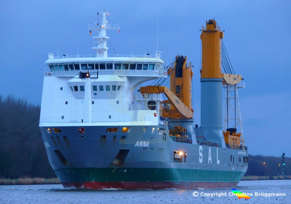 SAL Heavy Lift Schwergutfrachter ANNA, Nord-ostsee Kanal 09.02.2019,  BILD 7