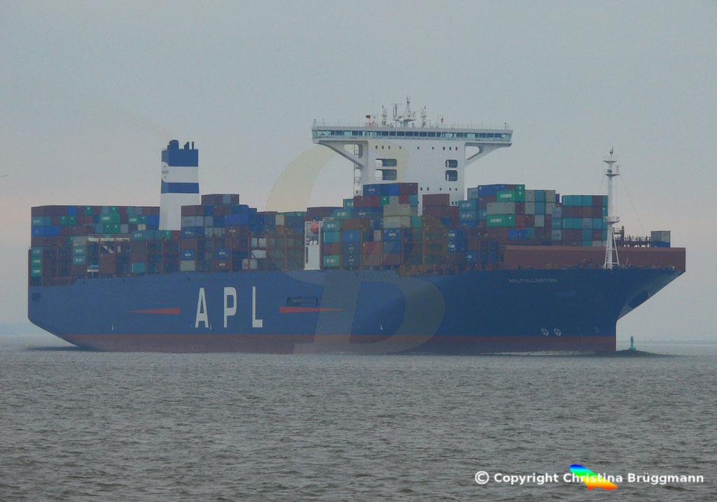 Containerschiff APL FULLERTON, nach Verlängerung, Elbe 20.03.2019,  BILD 2