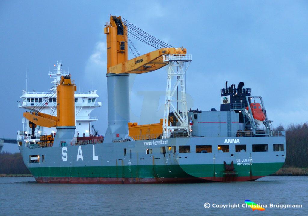 SAL Heavy Lift Schwergutfrachter ANNA, Nord-ostsee Kanal 09.02.2019,  BILD 12
